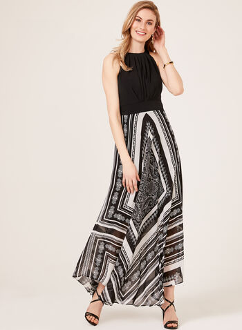 Halter Neck Maxi Dress, Black, hi-res