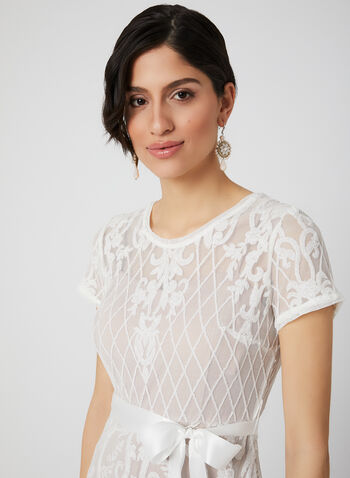 Sequin Mesh Dress, White, hi-res