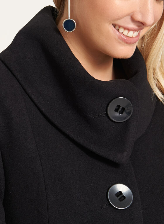 Wool-Like Envelope Collar Coat, Black, hi-res