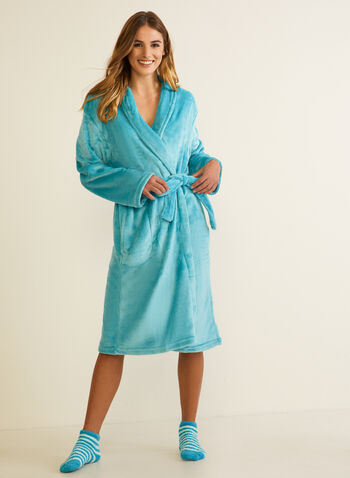 Plush Robe & Socks Set, Blue,  fall winter 2020, robe, socks, sock, set, plush, fleece, robe & socks, pyjamas, loungewear, bathrobe