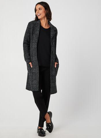 Haut à manches courtes et perles, Noir, hi-res,  haut, perles, manches courtes, jersey, col dégagé, automne hiver 2019