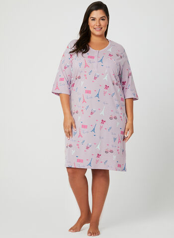 Bellina - Cotton Nightgown, Purple, hi-res
