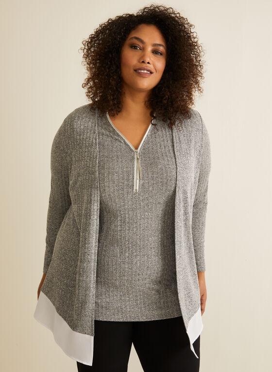 Open Front Long Sleeve Top, Grey