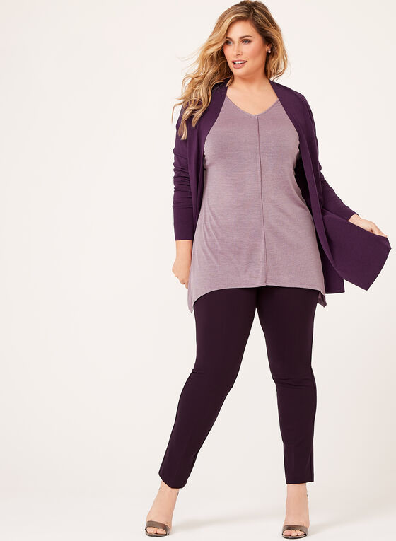 Sharkbite Hem Jersey Knit Tunic , Purple, hi-res