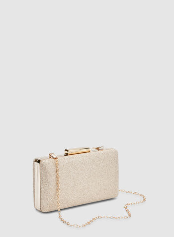 Glitter Box Clutch, Gold, hi-res,  box, glitter, metallic, fall 2019, winter 2019