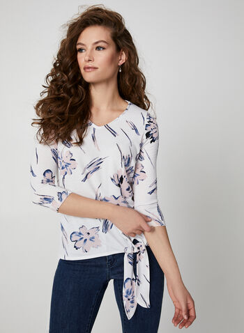 ¾ Sleeve Floral Print Top, White,  canada, top, floral print, print, floral print top, knit top, fall 2019, winter 2019