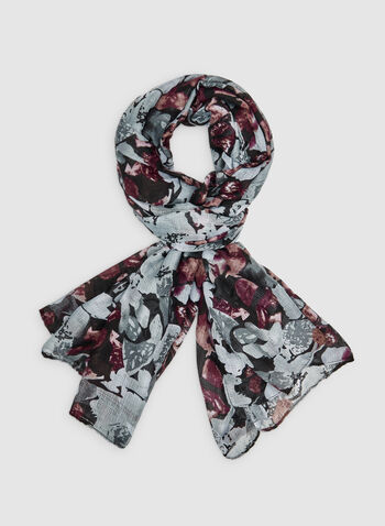 Abstract Print Scarf, Grey, hi-res,  oblong, floral print, fall 2019, winter 2019