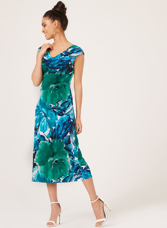 Drape Neck Jersey Dress, Blue, hi-res