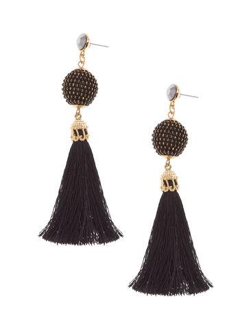 Bead & Tassel Earrings, Black, hi-res