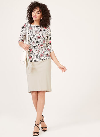 Floral Print Blouse, Grey, hi-res