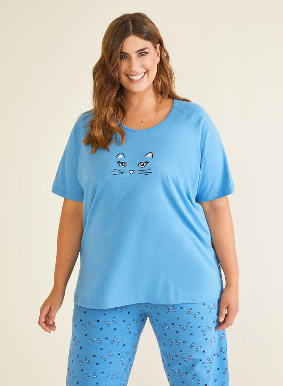2-Piece Printed Pyjama Set, Blue