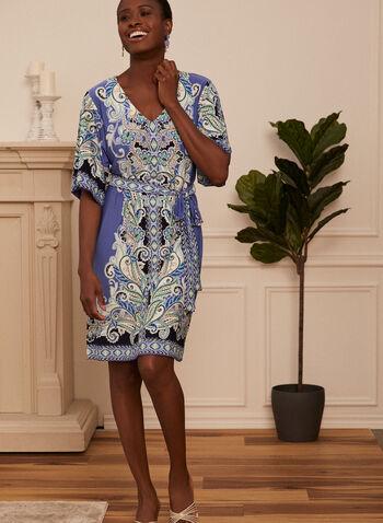 Sandra Darren - Robe à motif cachemire, Bleu,  automne hiver 2020, robe, kimono, motif paisley, jersey, doux, extensible, coupe droite