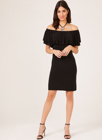 Off The Shoulder Ruffle Trim Dress, Black, hi-res