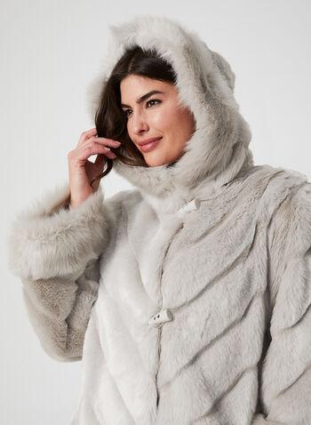 Nuage - Manteau en fausse fourrure, Argent, hi-res,  manteau, fausse fourrure, capuchon, brandebourg, poches, automne hiver 2019