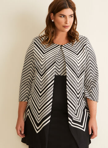 Chevron Print Jacket & Dress, Black,  spring summer 2020, chevron print, 3/4 sleeves, sleeveless, sheath dress