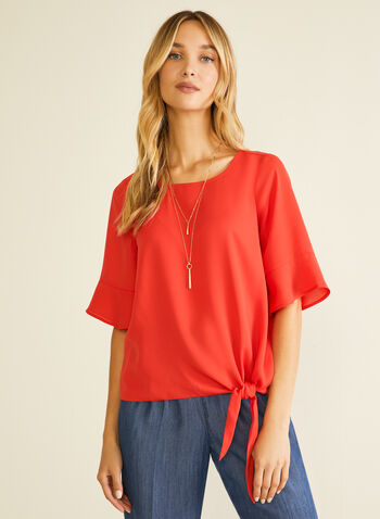 Ruffle Sleeve Knot Detail Blouse, Red,  blouse, knot, crepe, ruffle, elbow sleeves, spring summer 2020