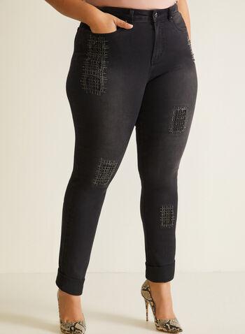 Joseph Ribkoff - Jeans effet usé à cristaux, Gris,  automne hiver 2020, jeans, denim, cristaux, jambe étroite, fait au Canada