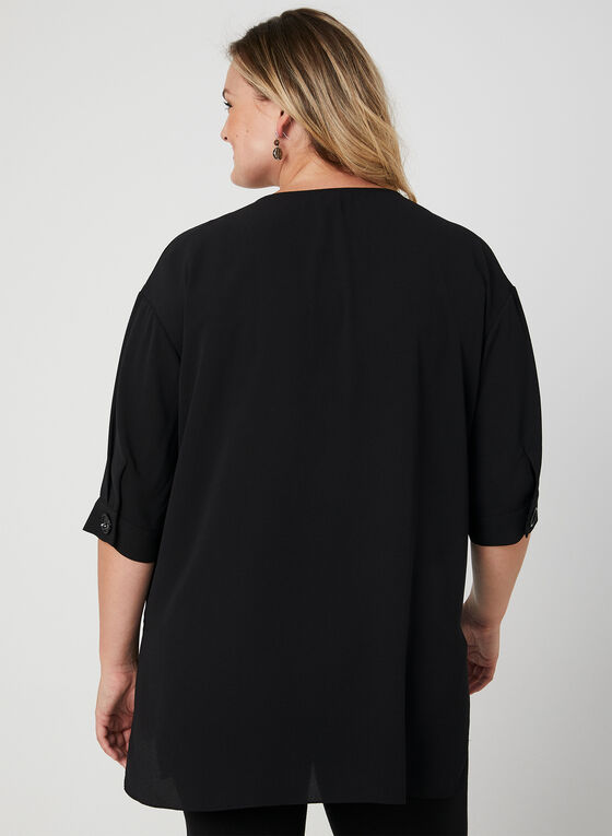 Elbow Sleeve Tunic Blouse, Black, hi-res