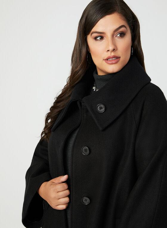 Manteau boutonné en laine mélangée, Noir, hi-res