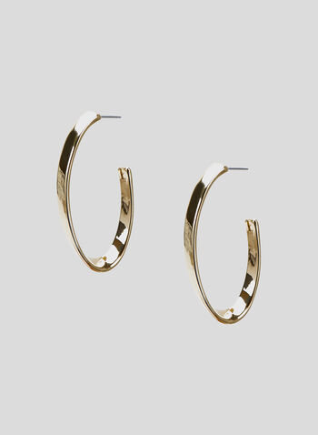 Oval Hoop Earrings, Gold, hi-res