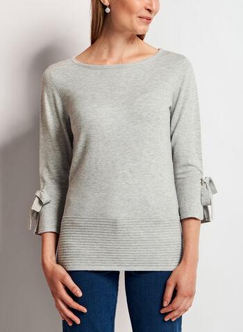 Ottoman Hem Bell Sleeve Sweater , Silver, hi-res