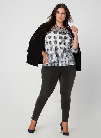 T-shirt motifs animalier et géométrique, Noir, hi-res,  t-shirt, manches 3/4, animalier, géométrique, jersey, col dégagé, automne hiver 2019