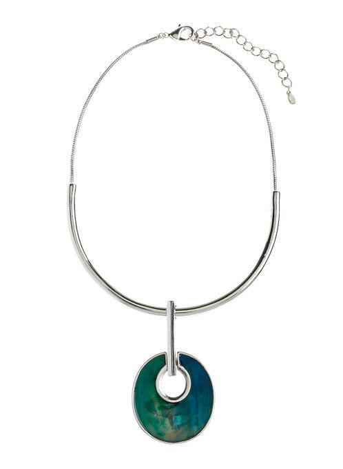 Demi Collar Round Pendant Necklace, Blue, hi-res