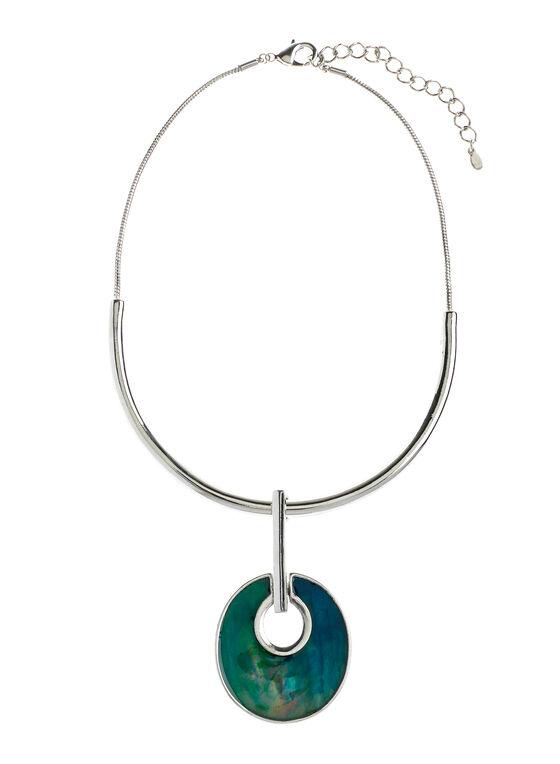 Collier semi-rigide pendentif géométrique, Bleu, hi-res