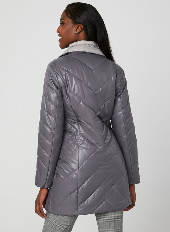 Marcona - Quilted Faux Down Coat, Purple