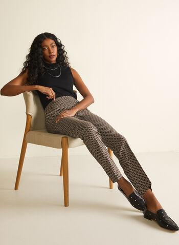 J&L Black - Pantalon à jambe étroite avec motif , Noir,  pantalon, jambe étroite, bengaline, poches, pull-on, motif, cercles, printemps été 2021