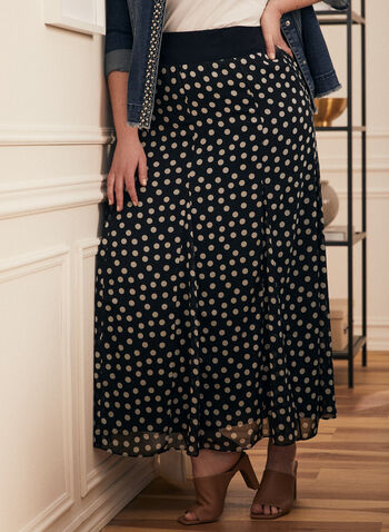 Dotted Print Maxi Skirt, Blue,  skirt, maxi, dotted, pull-on, pleated, spring summer 2021