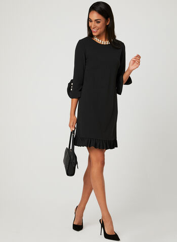 Ruffle Trim Cocktail Dress, Black, hi-res