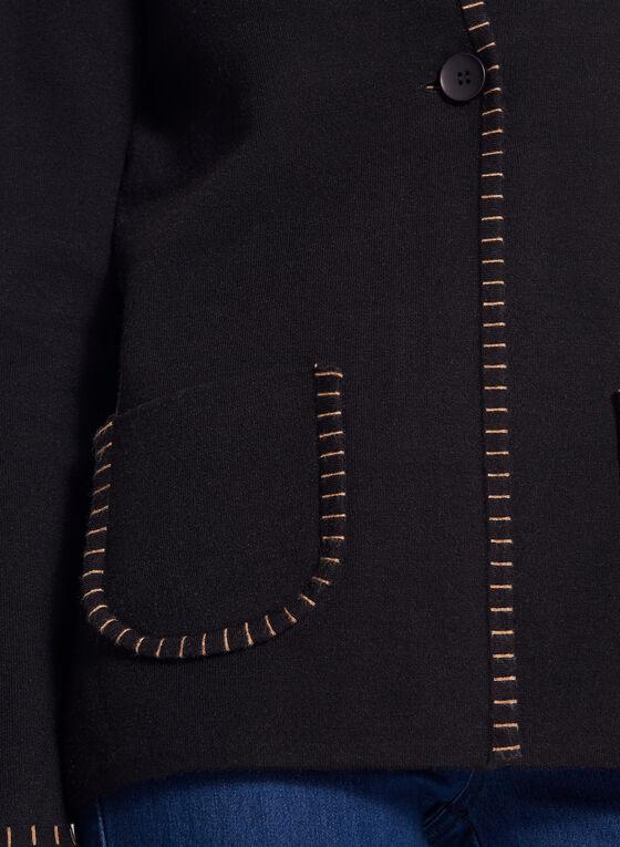 Cardigan à poches plaquées et détails brodés, Noir, hi-res