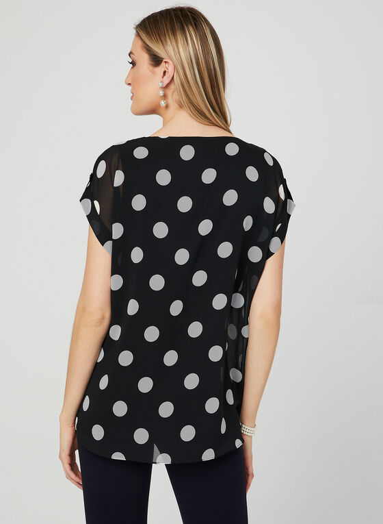 Polka Dot Print Chiffon Top, Black