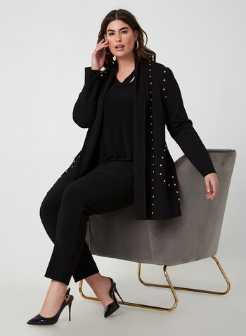 Joseph Ribkoff - Open Front Duster, Black,  duster, open front, studs, embellishments, blazer, fall 2019, winter 2019
