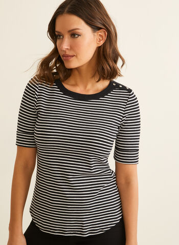 Elbow Sleeve Stripe Print T-Shirt, Black,  t-shirt, cotton top, top, cotton t-shirt, elbow sleeves, stripe top, stripes, print, spring top, spring 2020, summer 2020