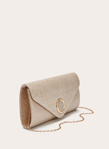 Structured Glitter Envelope Clutch , Gold, hi-res
