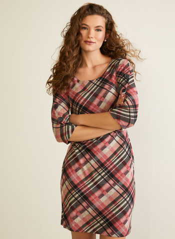 Tartan Print Knit Dress, Pink,  dress, tartan, knit, fall winter 2020