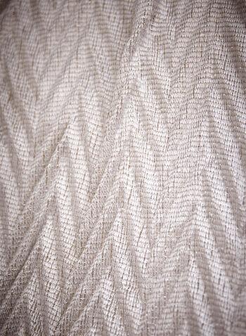 Foulard long à franges , Argent,  accessoire, foulard, écharpe, motif chevrons, métallique, franges