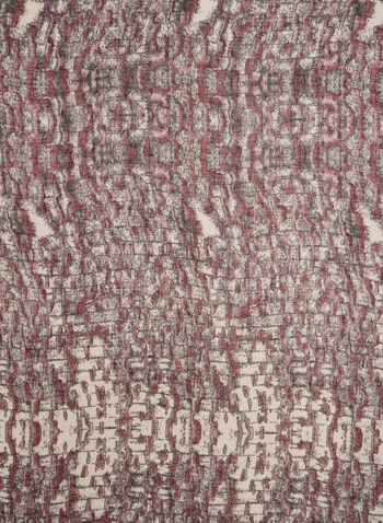 Abstract Print Scarf, Red,  brick print, polyester, fall 2019, winter 2019
