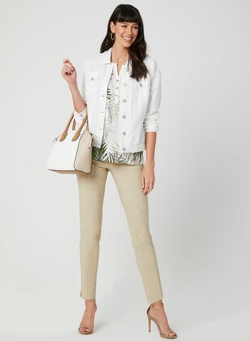 T-shirt motif feuilles de palmier, Blanc, hi-res,  t-shirt, manches courtes, feuilles de palmier, argenté, lin, printemps été 2019