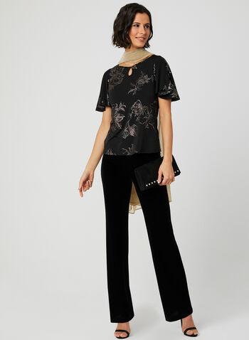 Haut à manches courtes et fleurs métallisées , Noir, hi-res