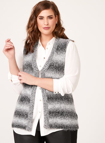 Striped Faux Wool Cardigan , , hi-res