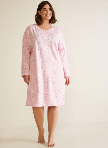 Confetti Print Long Sleeve Nightgown, Multi,  fall winter 2020, pyjamas, nightshirt, nightgown, sleepwear, v neck, stretch, midi length, long sleeve, confetti print