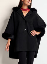 Hooded Cape Coat, Black, hi-res