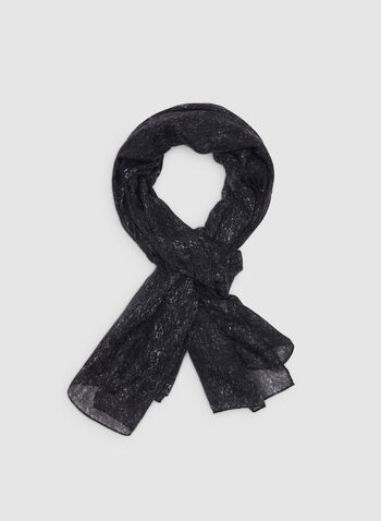 Lightweight Printed Scarf, Black,  Canada, scarf, lightweight, fall 2019, winter 2019