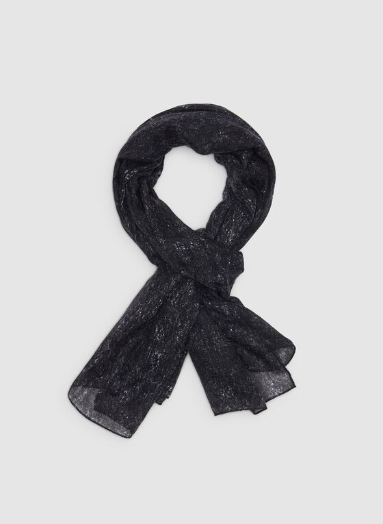 Lightweight Printed Scarf, Black