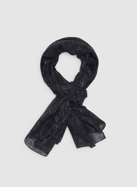 Foulard léger à motif abstrait, Noir