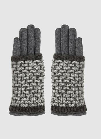 Gants en tricot superposé, Gris, hi-res,  gants, tricot, superposition, briques, automne hiver 2019