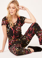 Leaf Print Pajama Set , Black, hi-res